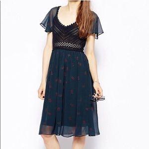 Free People Midnight Wildflower Crochet Dress S